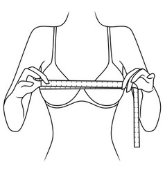 woman measuring size her chest vector image