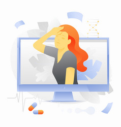 Woman with headache on monitor screen vector