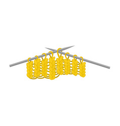 Yellow knitted fabric on metal needles hobby vector