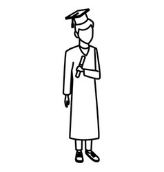 young man student with graduation gown vector image