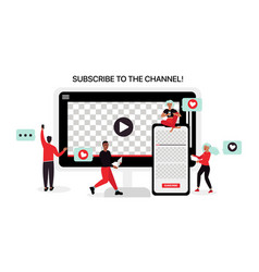 Youtube bloggers make content for vector