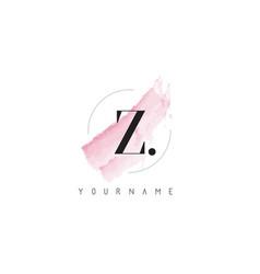 Z letter logo with pastel watercolor aquarella vector