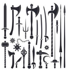 black monochrome solid design various medieval vector image