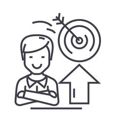 businessmansuccessgoal target line icon vector image vector image