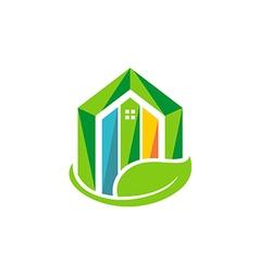 eco house realty building environment logo vector image