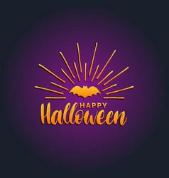 Happy halloween lettering with bat vector