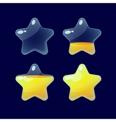 Set of Cartoon glossy Stars vector image