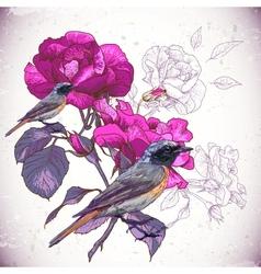 Vintage floral background with birds vector image