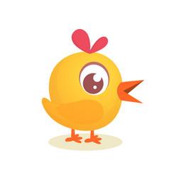cute cartoon yellow chicken vector image vector image