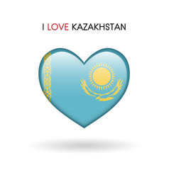 love kazakhstan symbol flag heart glossy icon on vector image