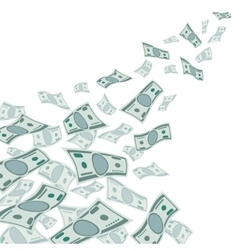 Money flow falling dollars currency isolated on vector image