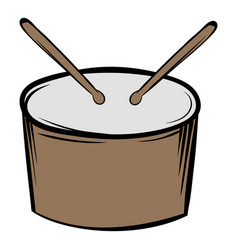 drum and drumsticks icon cartoon vector image