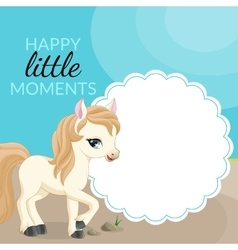 Frame with pony and place for text vector image