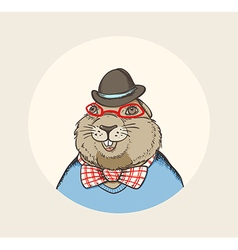 Hand drawn card for Groundhog Day vector image