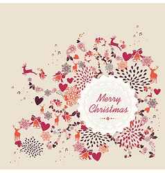 Merry Christmas label text retro elements file vector image