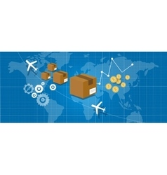delivery package shipping world wide map globe vector image