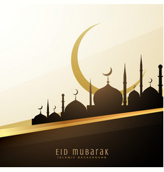 eid wishes background with mosque and moon vector image vector image