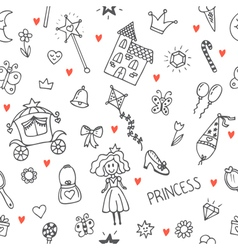 Hand drawn seamless pattern with princess girl vector image