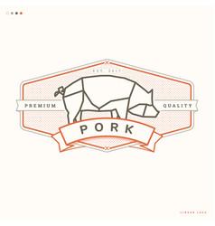 pork linear logo vector image vector image