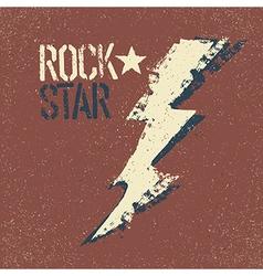 Rockstar Grunge lettering with thunderbolt symbol vector image vector image