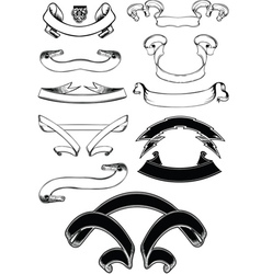 Set Of One Color Old Vintage Scroll Banners vector image vector image