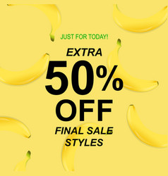 summer sale poster with banana vector image vector image