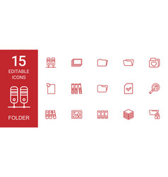 15 folder icons vector image