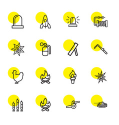 16 fire icons vector image