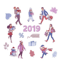 2019 new year christmas sale discount vector image