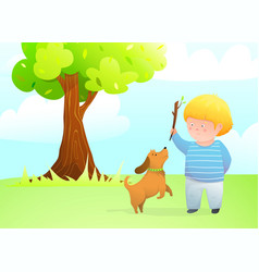 a boy with jumping dog friend playing outside vector image