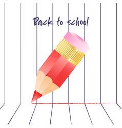 Abstract back to school background with red pencil vector