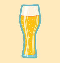 ale beer glass icon hand drawn style vector image