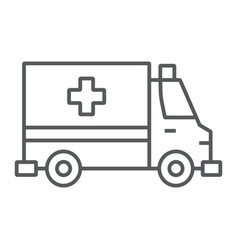 ambulance thin line icon emergency and hospital vector image