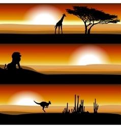 Animals on the savannah at sunset vector