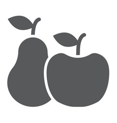apple and pear glyph icon food and vitamin vector image