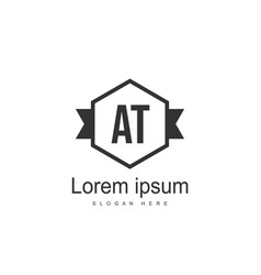 At letters logo design simple and creative black vector