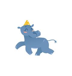 baby hippo hippopotamus character in birthday hat vector image
