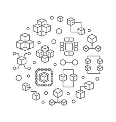 block chain technology round vector image