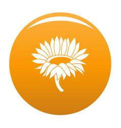 Blossoming sunflower icon orange vector