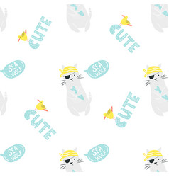 bright seamless pattern with funny pirate cats vector image