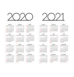 calendar 2020 2021 year editable template vector image