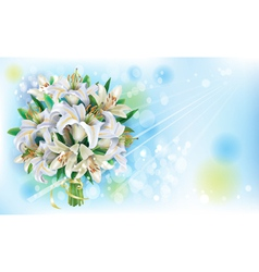 Card with bouquet of white lilies vector