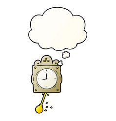 Cartoon ticking clock and thought bubble in vector