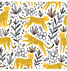 Cheetahs hunting butterflies seamless pattern vector