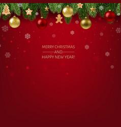 christmas postcard with garland vector image