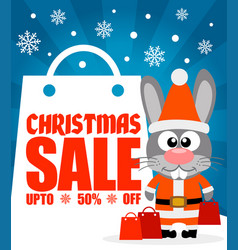 Christmas sale background with funny rabbit vector