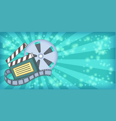 cinema movie horizontal banner reel cartoon style vector image