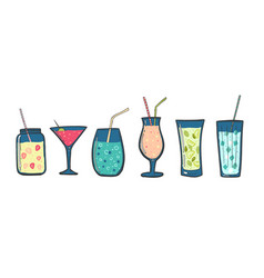 cocktails set alcoholic drinks in glasses with vector image