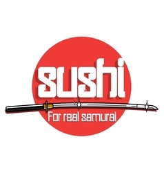 Color vintage sushi emblem vector