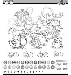 counting activity for coloring vector image